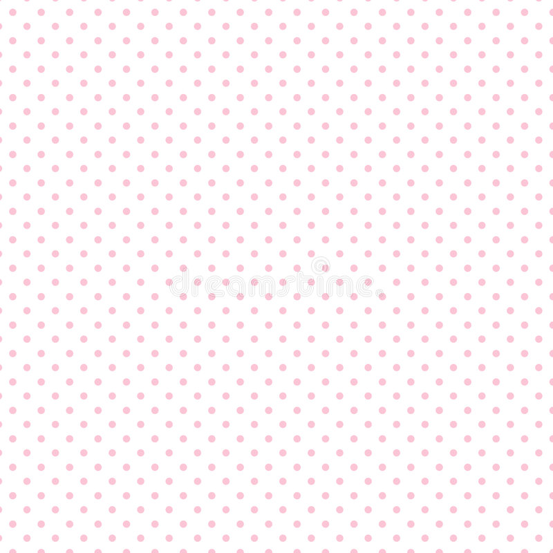 Small Pastel Pink Polka dots on White, Seamless Background stock illustration