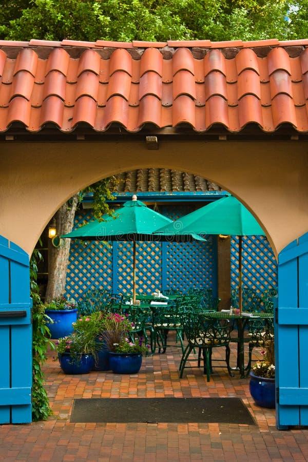 Small patio in Santa Fe stock photography