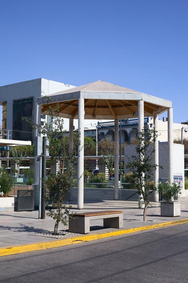 Small Pavillon in Iquique, Chile. IQUIQUE, CHILE - FEBRUARY 11, 2015: Small pavillon on the square located on the corner of Eleuterio Ramirez and Tarapaca royalty free stock photo