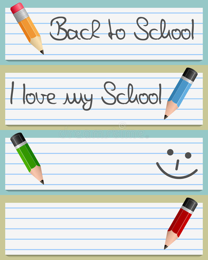Download Small Pencils And Paper Banners Stock Vector - Image: 32086576
