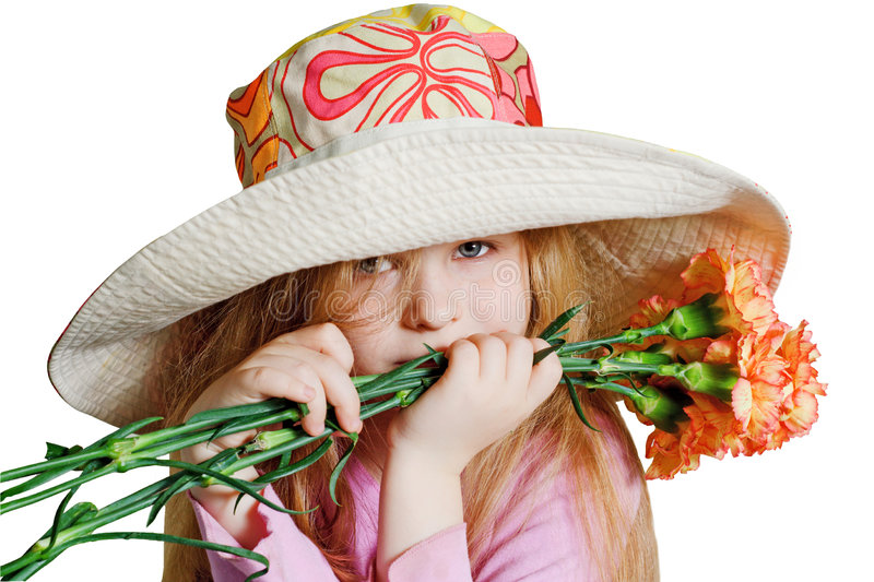 Download Small Pensive Girl With Pink Flowers Stock Photo - Image: 6199208