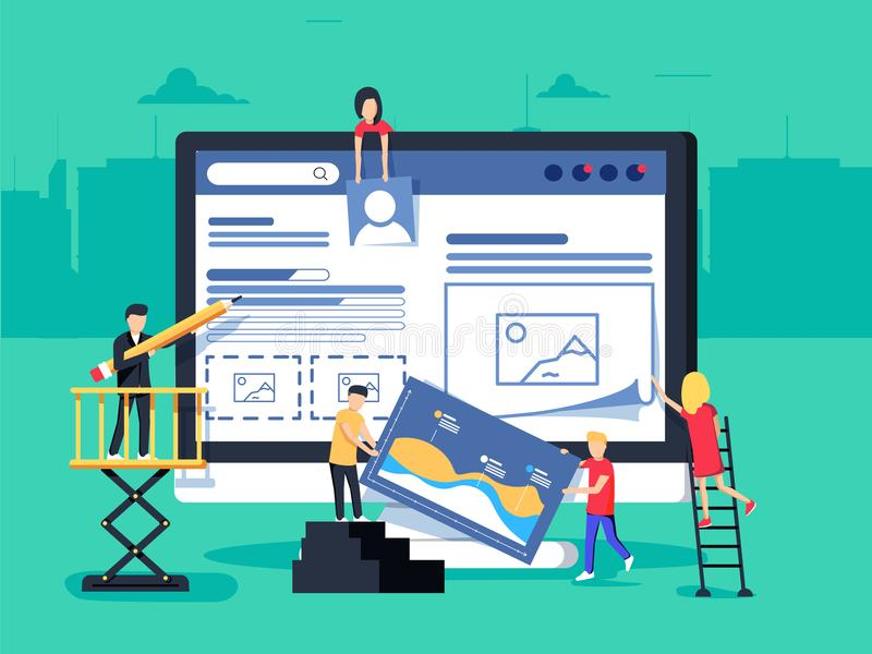 Small people character decorated web business technology. vector concept illustration flat design royalty free illustration