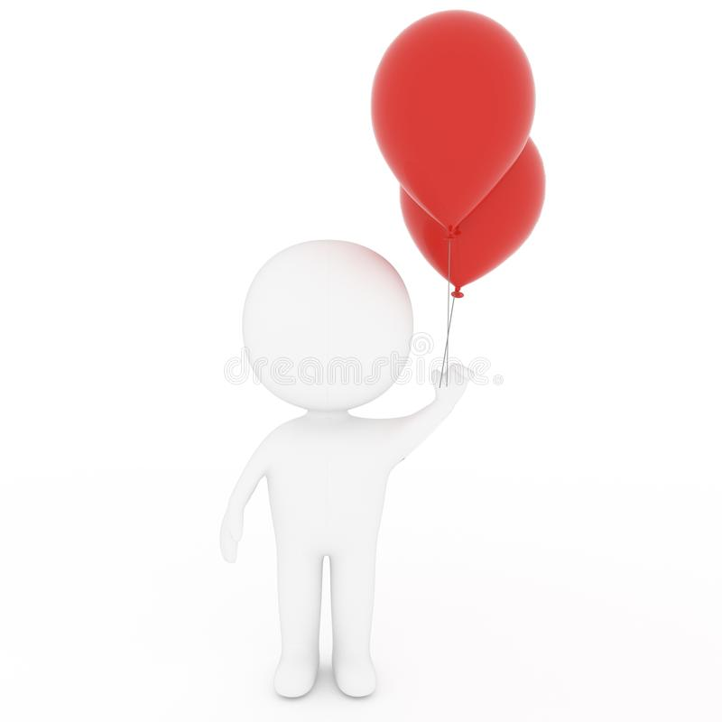 Small people hold red balloons on isolated white in 3D rendering stock illustration