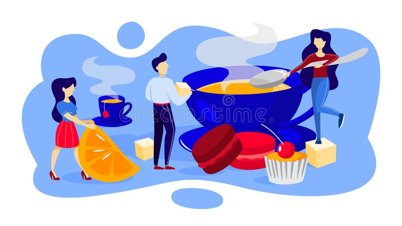 Small people make a cup of hot tea vector illustration