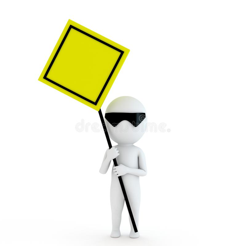 Small people with yellow board stock illustration