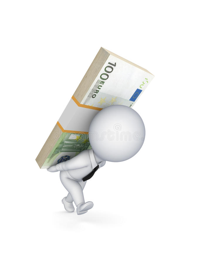 Small Person With A Pack Of Euro On The Back. Royalty Free Stock Photography