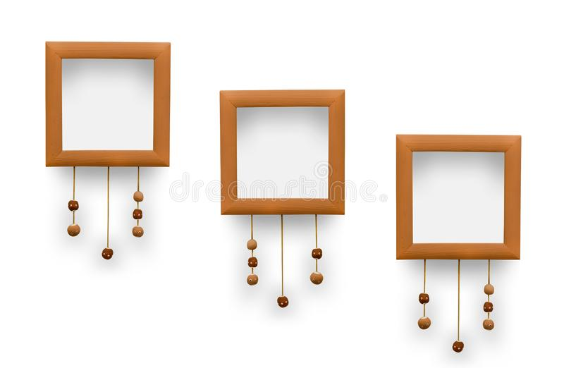 Small photo frames. Decorative laces with beads of clay vector illustration