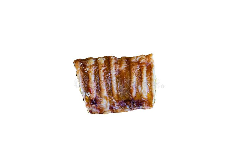 A small piece of treats for dogs. Trachea beef Length 2-3 inches. White background stock photo