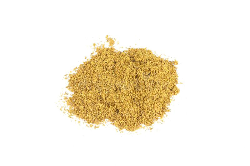 A small pile of Curry powder isolated on white royalty free stock images