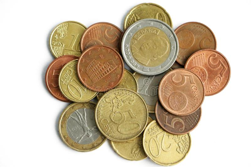 A small pile of euro coins royalty free stock photography