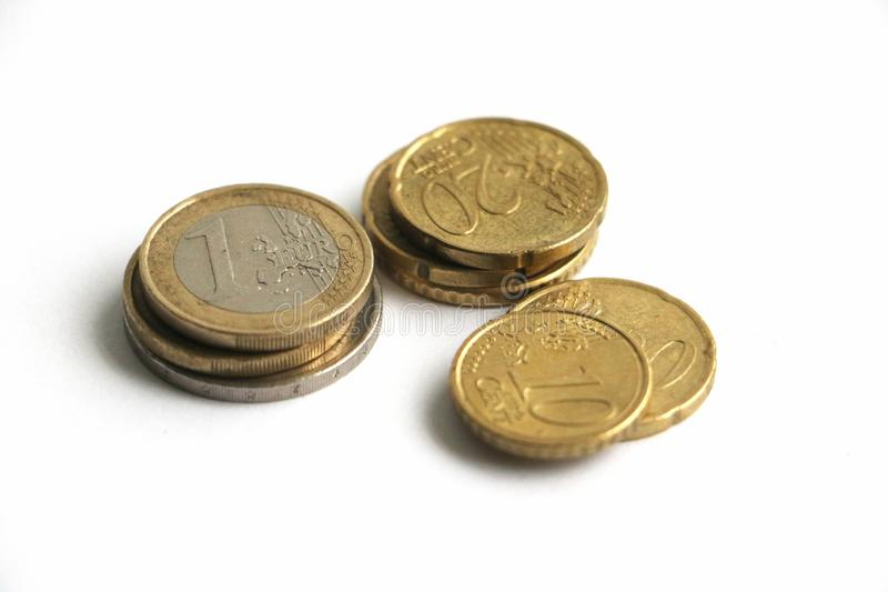 A small pile of euro coins royalty free stock photo