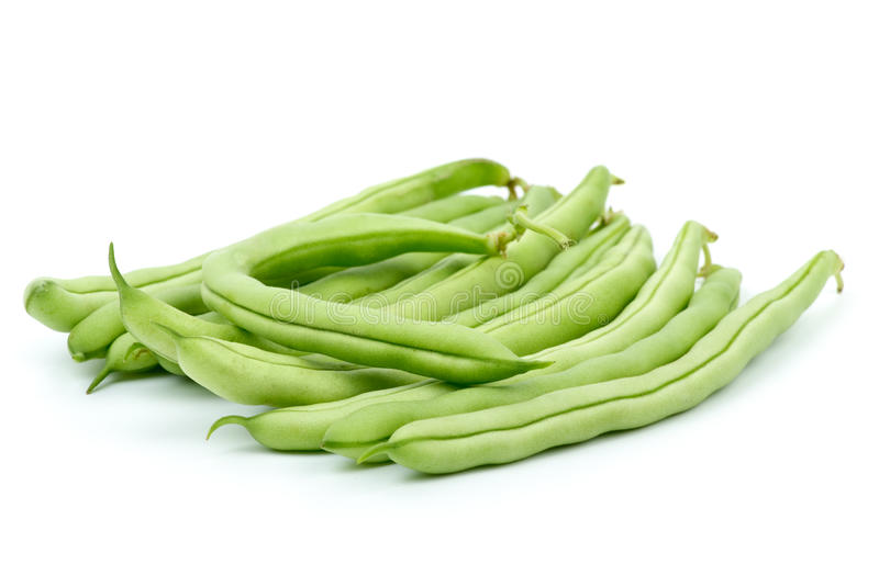 Small pile of green bean pods. Isolated on the white background stock image