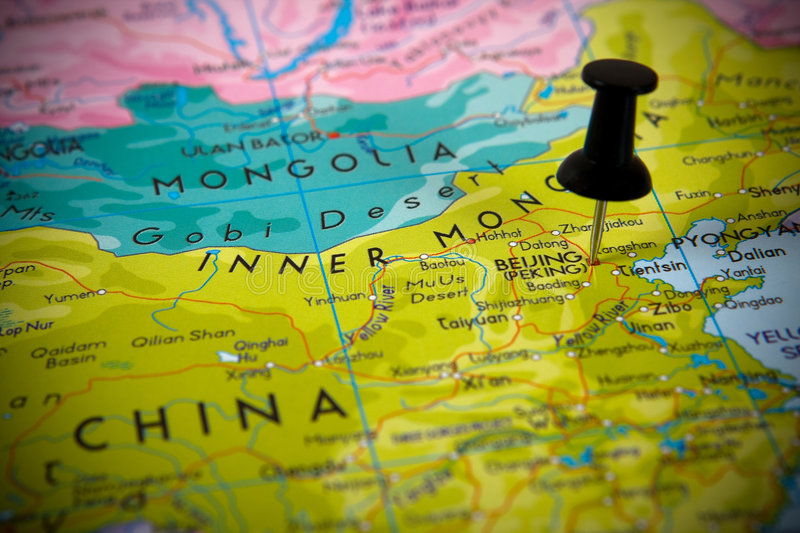 Small pin pointing on Beijing royalty free stock image
