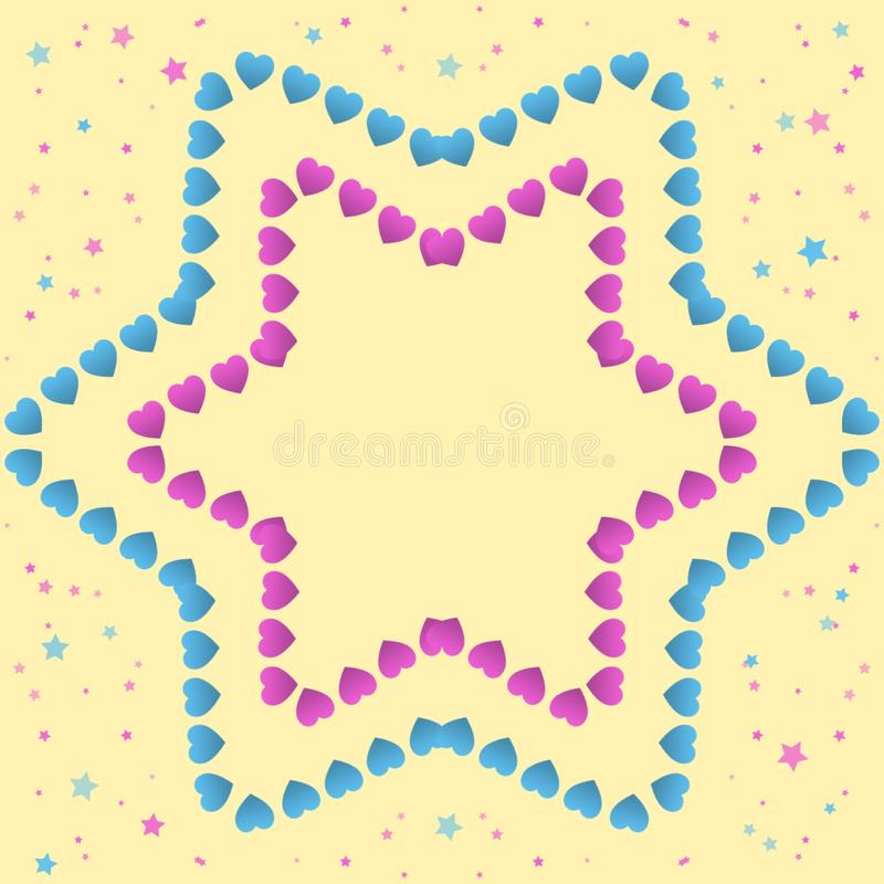 Small pink and blue hearts forming a star on a yellow background with small stars, hand drawn illustration with pastel colors. Small pink blue hearts forming vector illustration