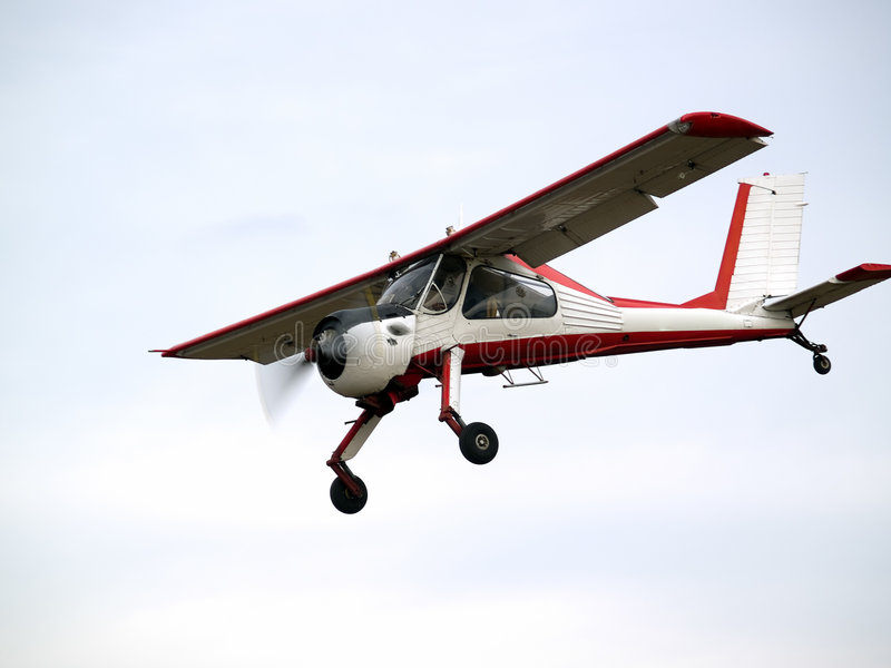 Small plane on glideslope royalty free stock photo