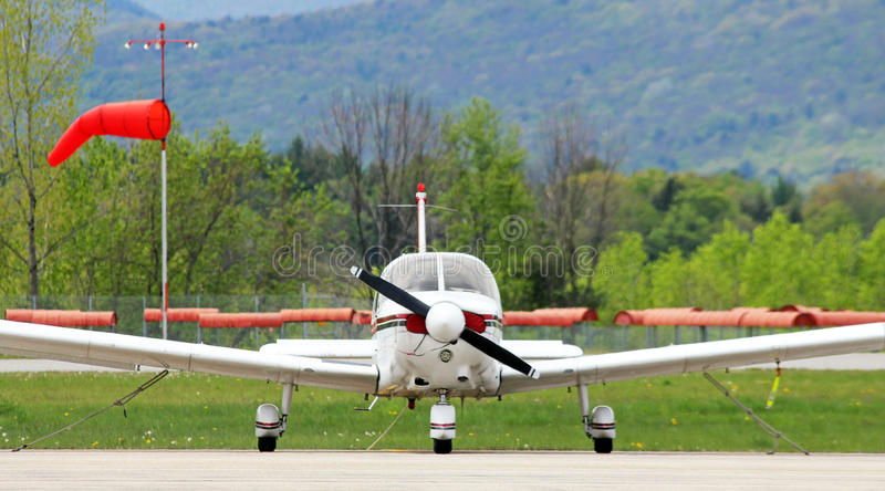 Small plane parked. On ramp stock images