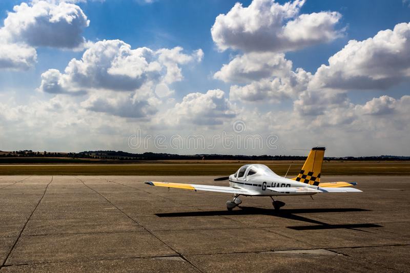 A small plane on the runway stock image