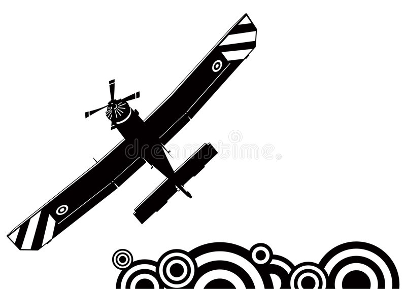A small plane silhouette royalty free illustration
