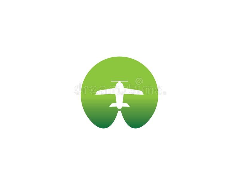 Small plane travel agency logo design idea with an airplane across the green circle negative space. Amazing destinations creative. Symbol trip icon royalty free illustration