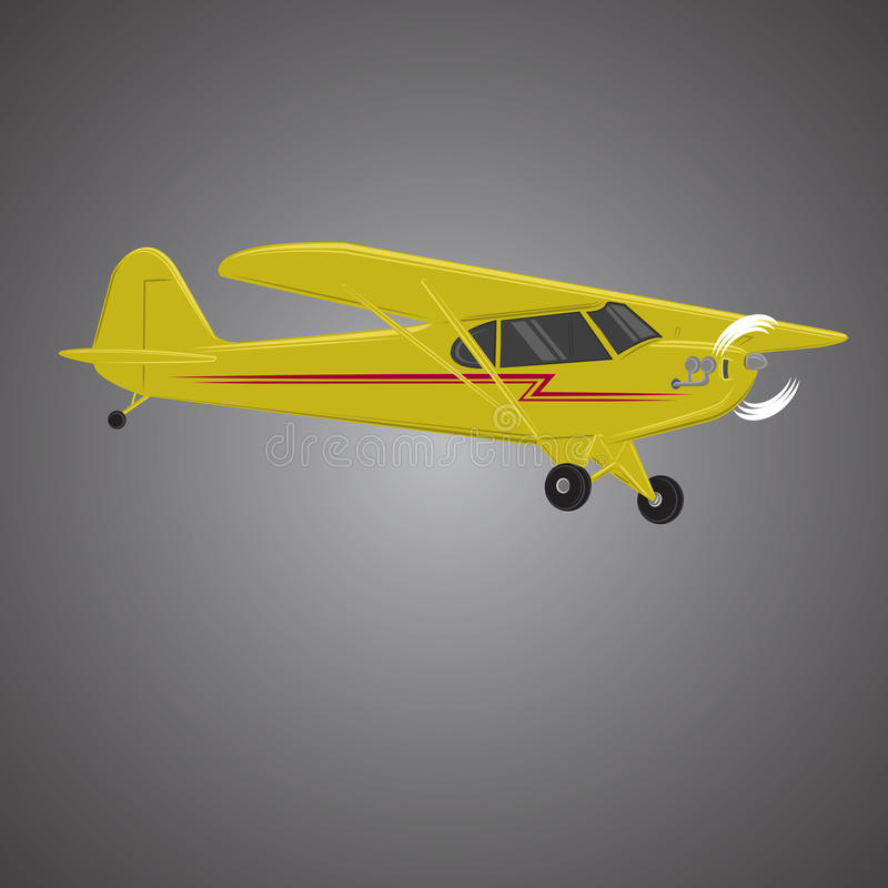 Small plane vector illustration. Single engine propelled aircraft. Air tours wehicle. Small plane vector illustration. Single engine propelled aircraft vector illustration