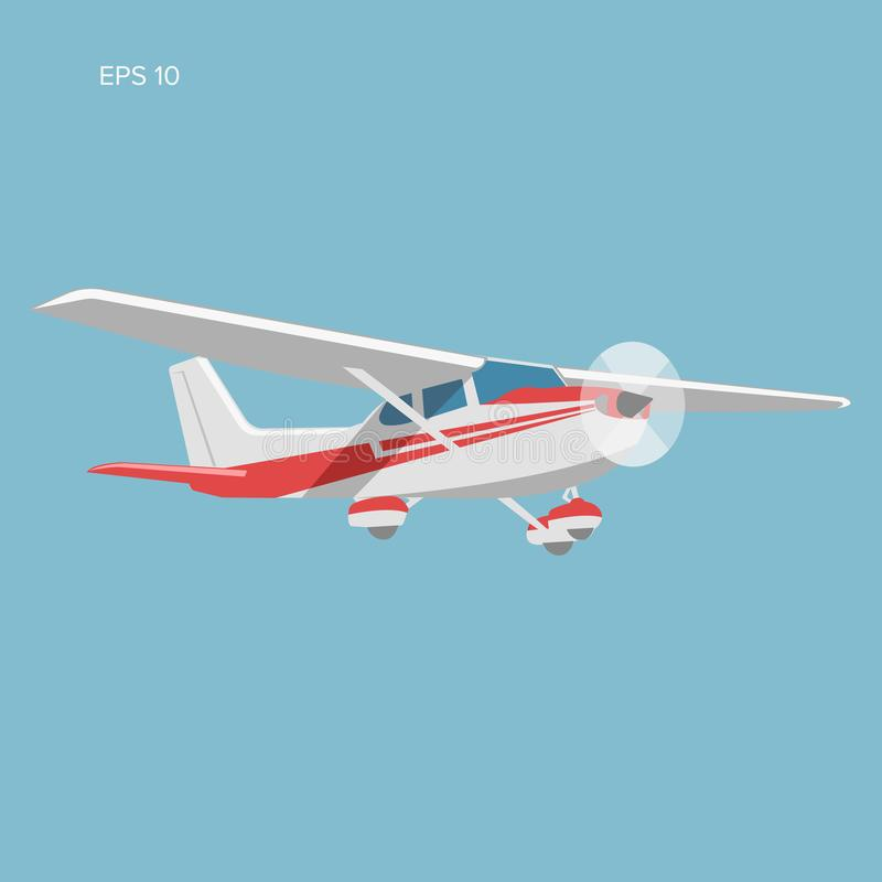 Small plane vector illustration. Single engine propelled aircraft. Vector illustration. Icon stock illustration