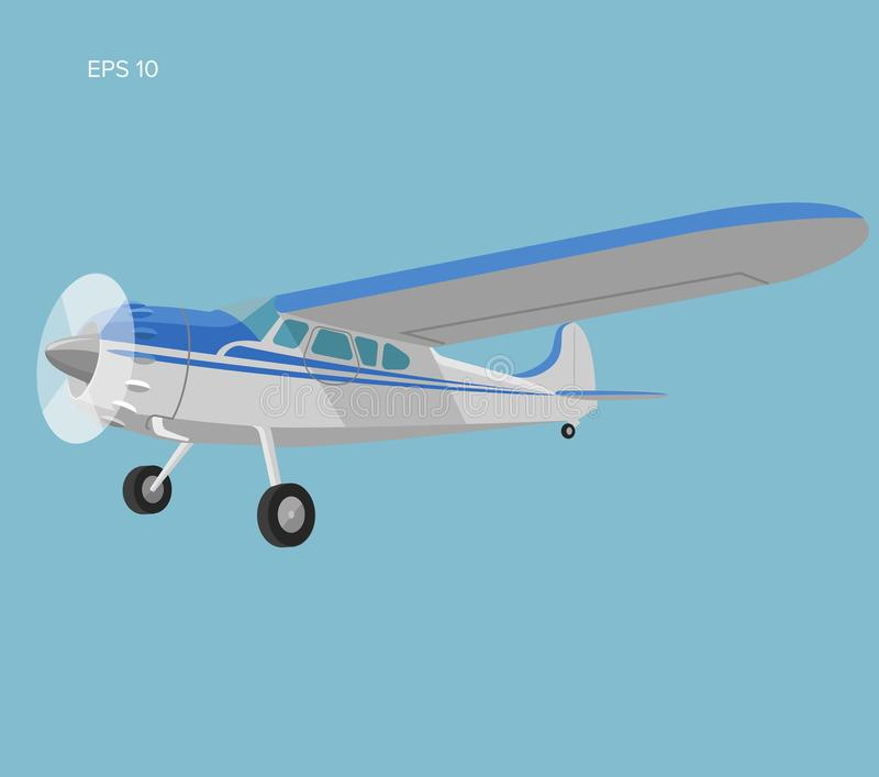 Small plane vector illustration. Single engine propelled passenger aircraft. Vimyage small plane vector illustration. Single engine propelled aircraft. Vector stock illustration
