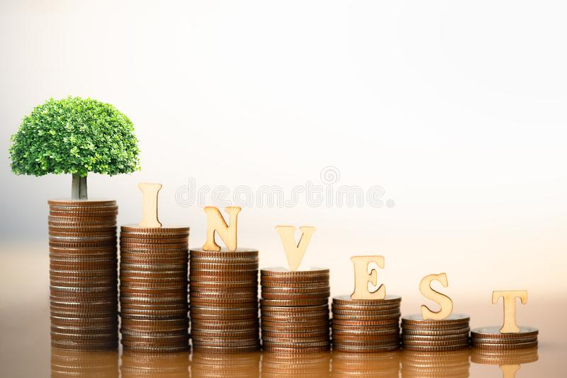 Small plant tree and Wooden Blocks with the text INVEST on coins stack. Retirement planning. money saving. Investment concept. retirement communities. Business royalty free stock photos