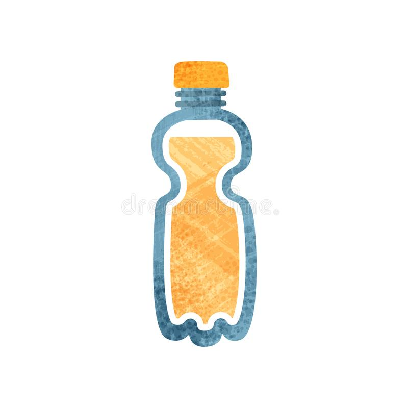 Small plastic bottle with fresh orange juice. Healthy drink. Container with sweet beverage. Flat vector icon with. Small plastic bottle with fresh orange juice stock illustration