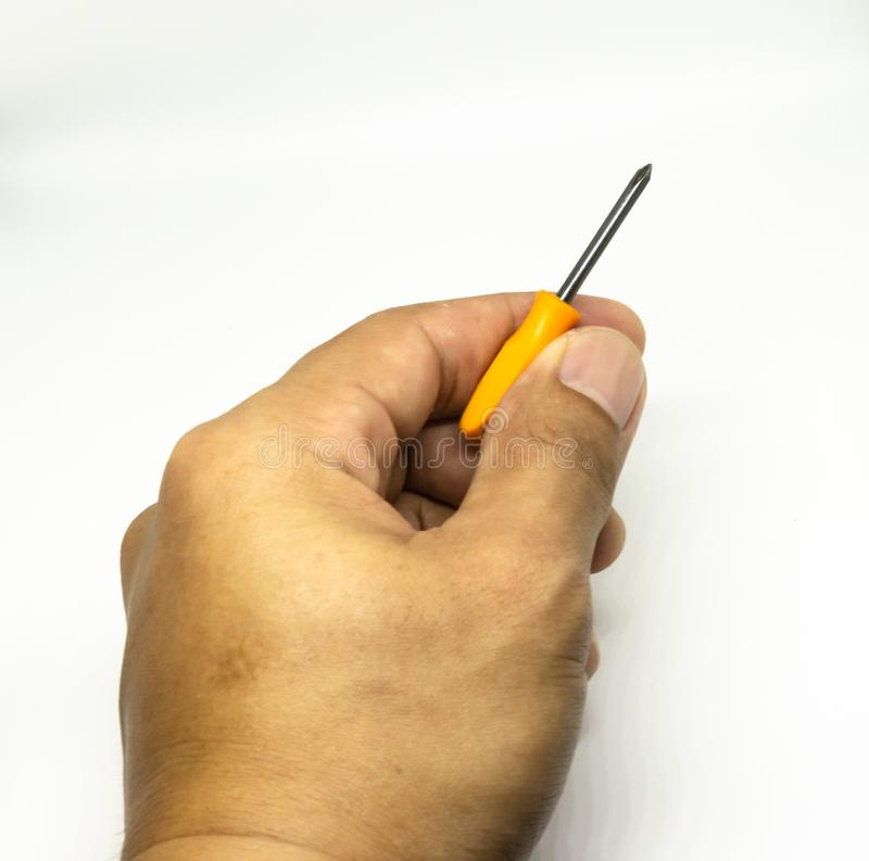 Small plus screwdriver on the  white background royalty free stock photography
