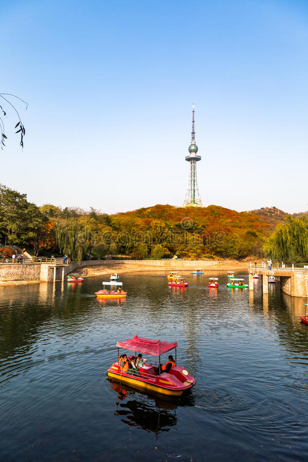 Free Small Pond With Boats In Zhongshan Park In Autumn, Qingdao, China Royalty Free Stock Photography - 81641277
