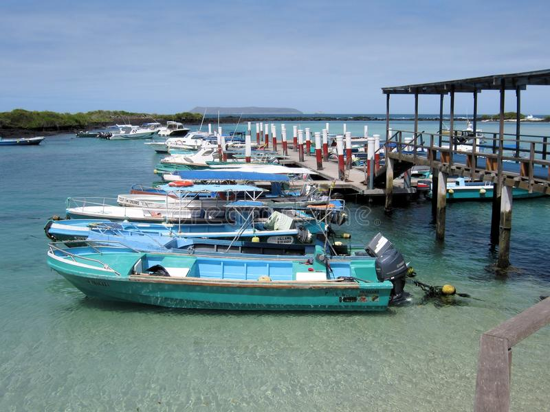 Small port Island Isabela Galapagos Islands. Small port of Puerto Villamil a village located on the southeastern edge of Isla Isabela in the Galapagos Islands royalty free stock photos