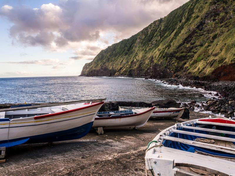 Small port next to the Arnel Lighthouse in Sao Miguel island, Az royalty free stock photo