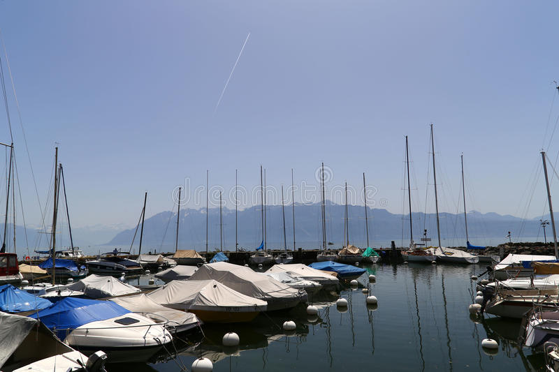 Small port with yachts on the Lake Geneva in town of Lutry, Switzerland stock photo