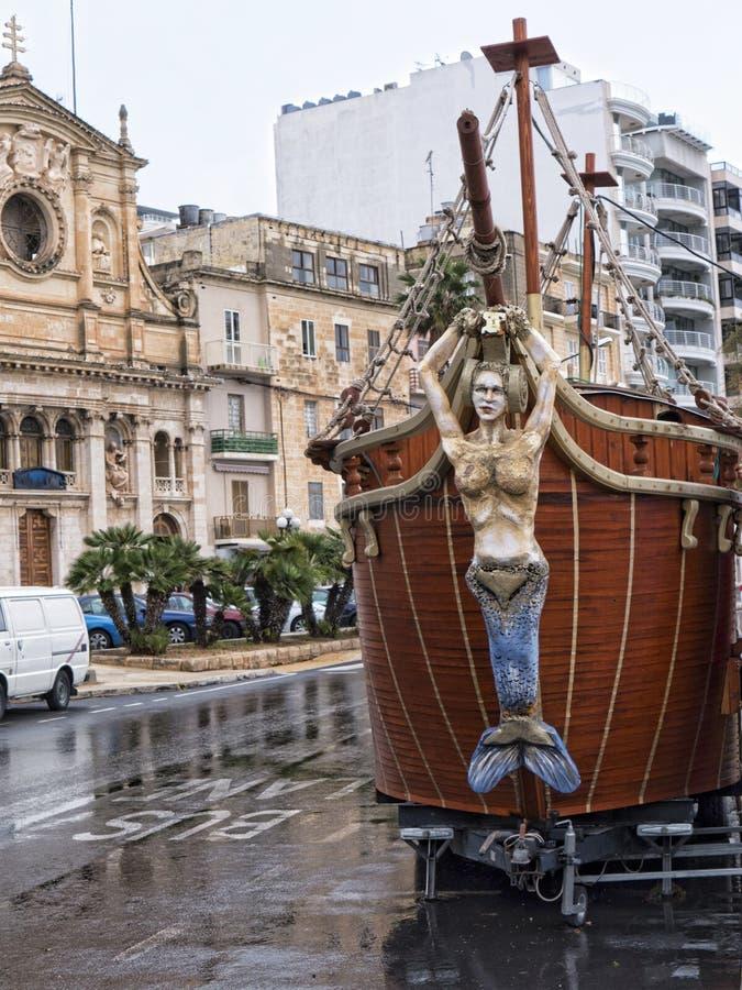 Small portable galleon at Sliema Malta stock images
