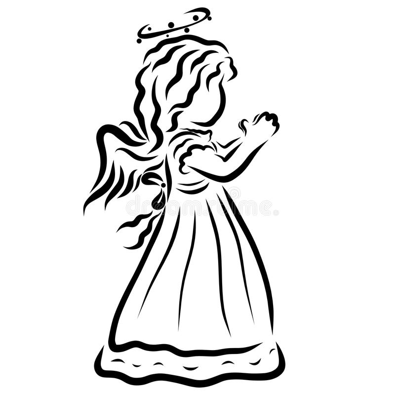 A small praying angel with a halo vector illustration