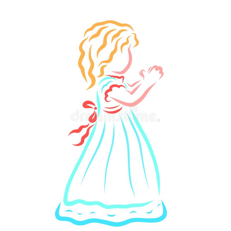 Small praying girl in a turquoise dress vector illustration
