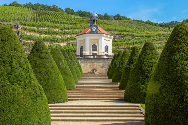 Park with a small chapel in the Saxon vineyards stock image
