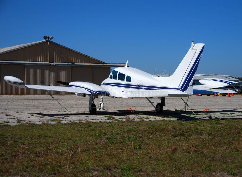 Small private airplane rear vi stock photography