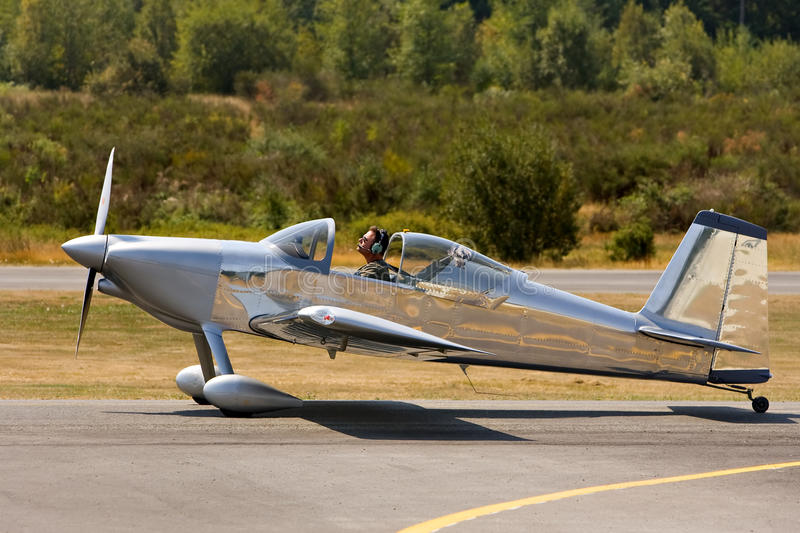 Small private experimental plane. Small private experimental RV7 airplane on taxiway royalty free stock photography