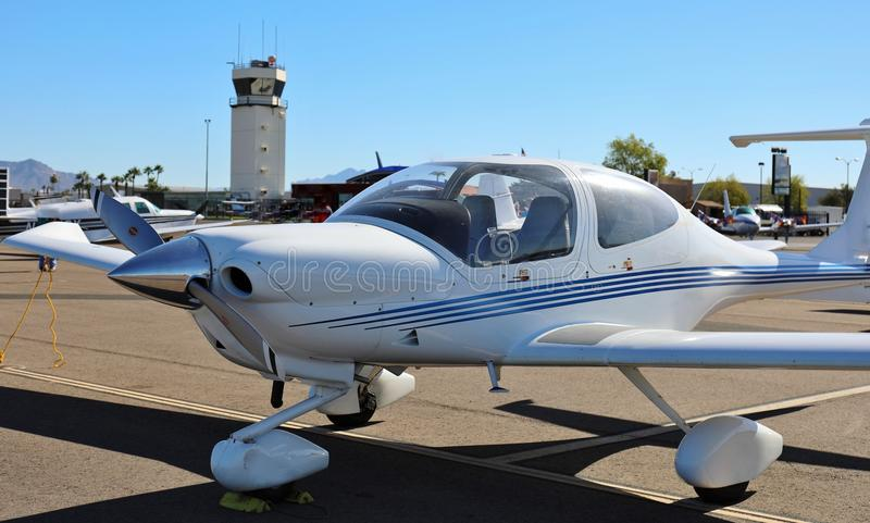 Small Private Plane. Diamond DA40 - A small single engine four seater private plane stock photos