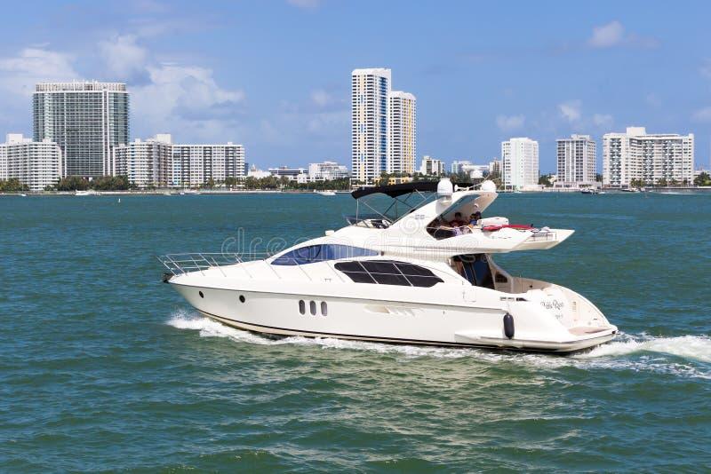 Small private yacht sailing near Miami royalty free stock photos