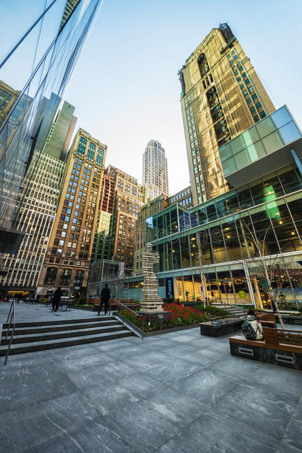 Small Public Garden at 120 West 42nd Midtown Manhattan NYC. New York, USA - April 24, 2015: Small Public Garden at 120 West 42nd Street, between 6th and 7th stock image