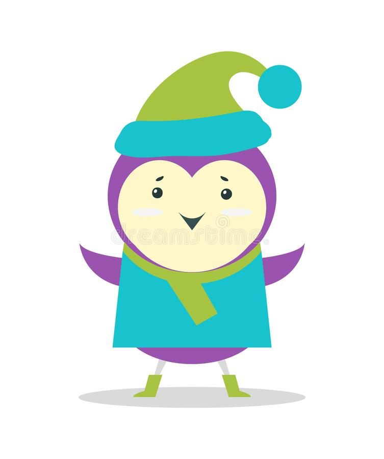 Small Purple Bird in Sweater and Hat with Pompon. Small purple bird in sweater and warm hat with pompon isolated cartoon flat vector illustration on white stock illustration