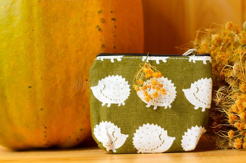 Small purse green with images of urchins standing on a wooden table next to a big old pumpkin and yellow dried flowers. Small purse green with images of urchins stock photo