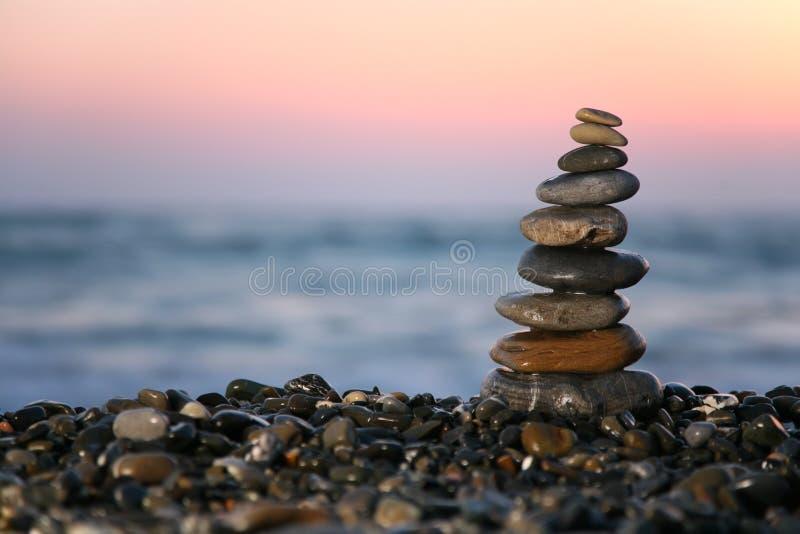 Small Pyramid From Stones On Seacoast Free Stock Photography