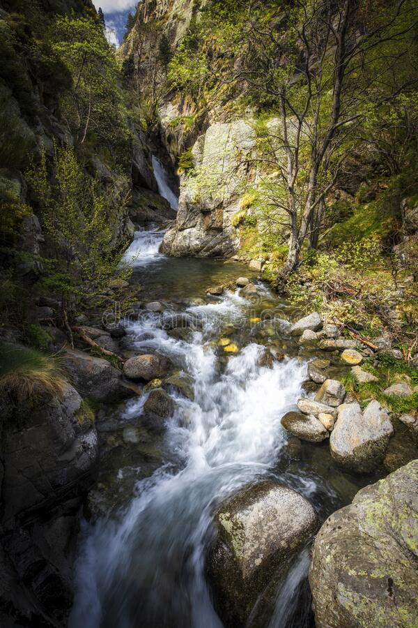 Small quickly creek between the rocks in a sunny day royalty free stock photo