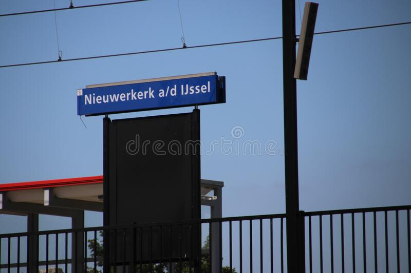 Small railroad station over the ring canal Zuidplaspolder in Nieuwerkerk aan den IJssel royalty free stock photos
