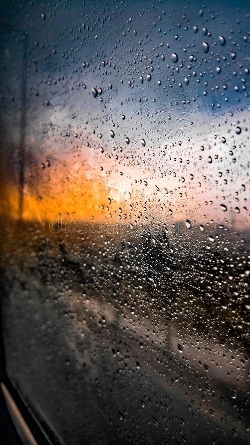Small rain drops on a condensed car glass window royalty free stock photos