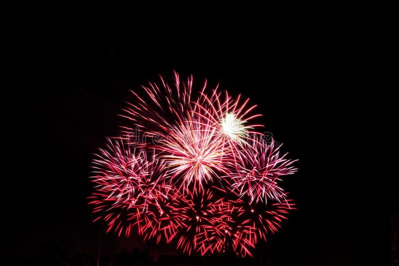 Small red fireworks royalty free stock photography
