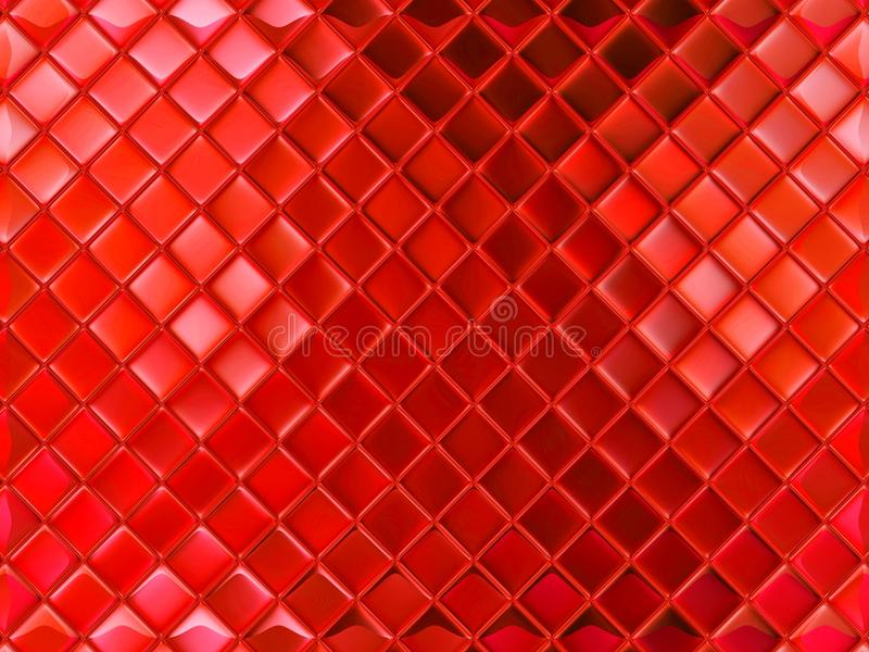 Small red glass tile. Geometrical texture pattern on a red glass tile stock photography